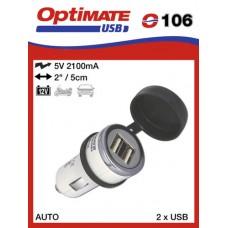 O106 Optimate USB nabíječka s duálním výstupem pro autozapalovač (2100mA)